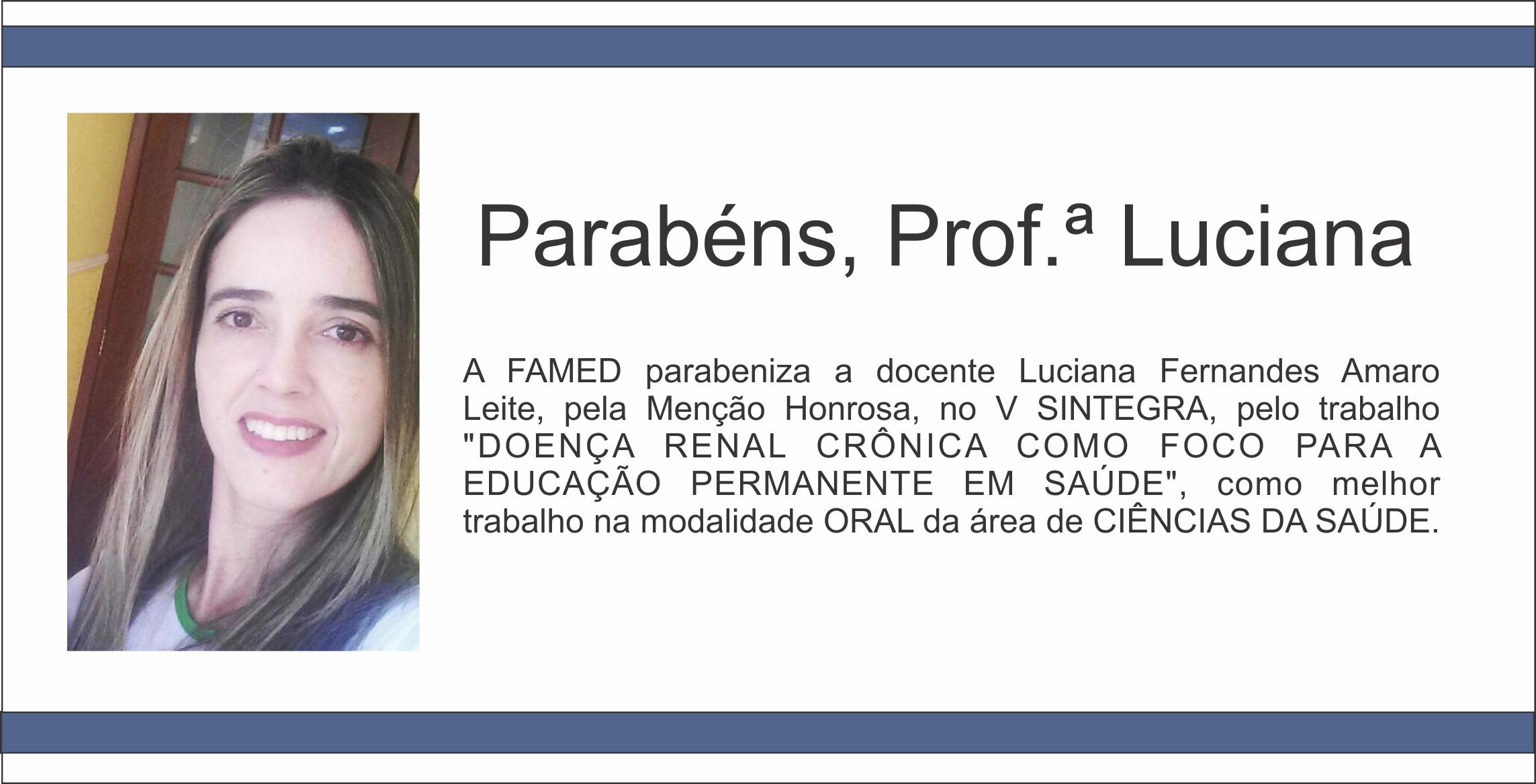 Parabéns Luciana